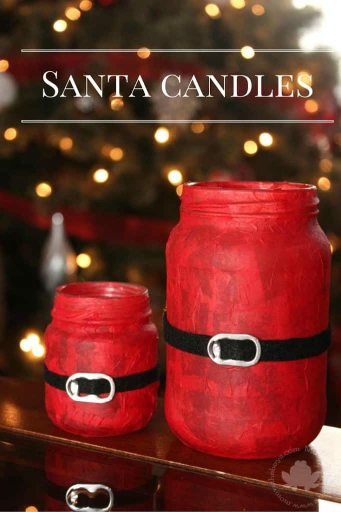 Santa Candles made from small jars