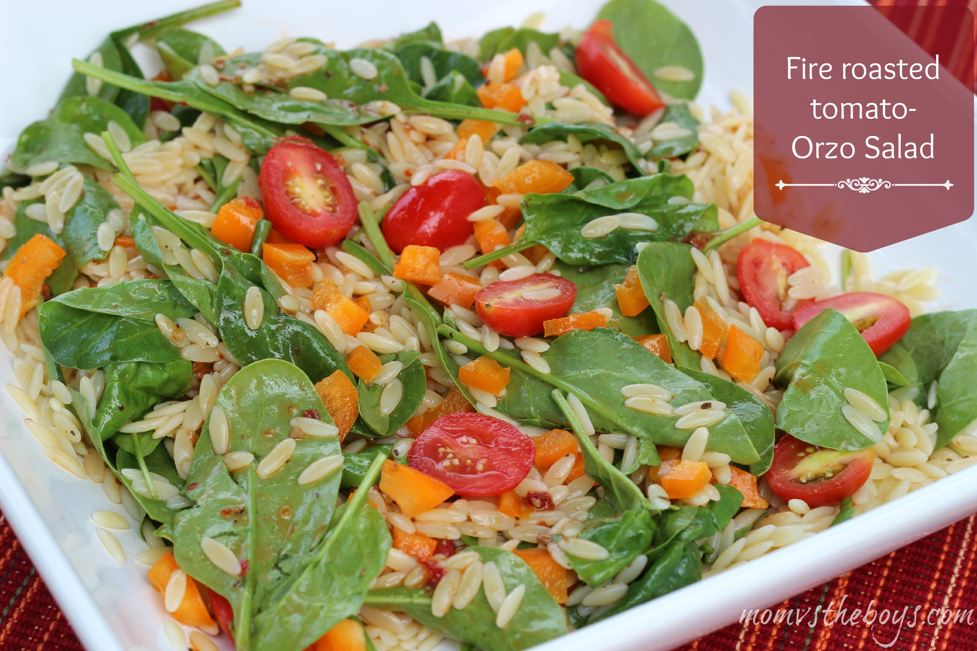 Fire Roasted Tomato Orzo Salad - Mom vs the Boys