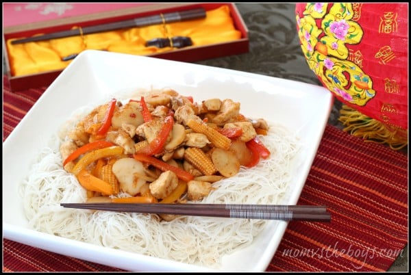 Basic Stir Fry with rice noodles - Mom vs the Boys