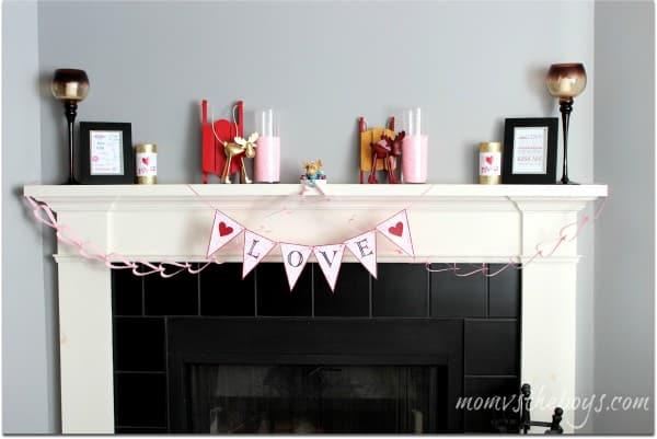 valentines fireplace mantel