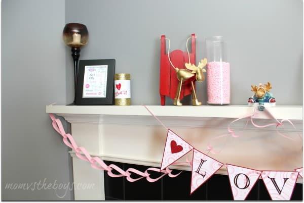 valentines fireplace mantel side