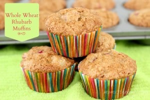 whole wheat rhubarb muffin