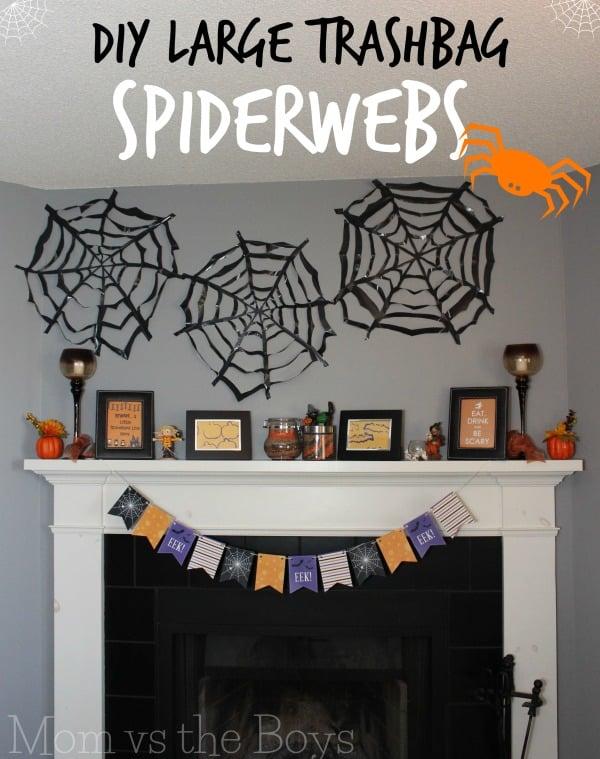 DIY trashbag spiderweb