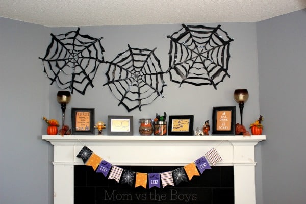 DIY Large Trash Bag Spiderwebs