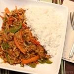 Thai red curry turkey stir fry
