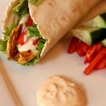 curry chicken wrap with sweet mango chutney sauce
