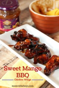 Sweet Mango Barbecue Chicken Wings - Mom vs the Boys