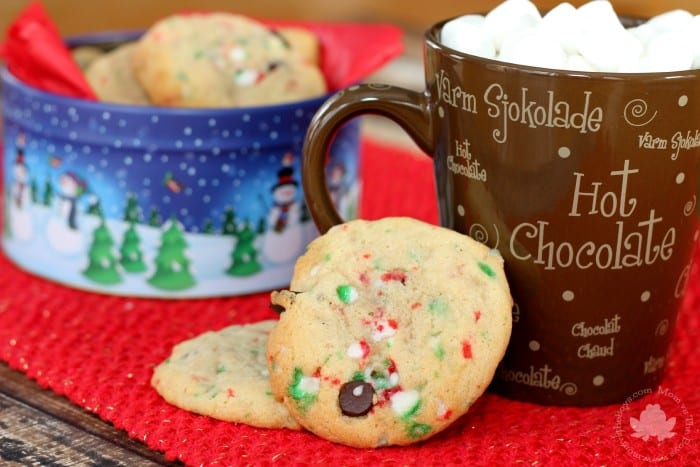 Chocolate Chip Candy Cane Cookies for Christmas