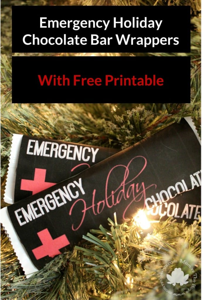 Emergency Holiday Chocolate - Free Printable Chocolate Bar Wrappers from Mom vs the Boys