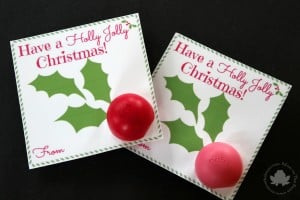 eos Lip Balm Holly Jolly Card with Printable