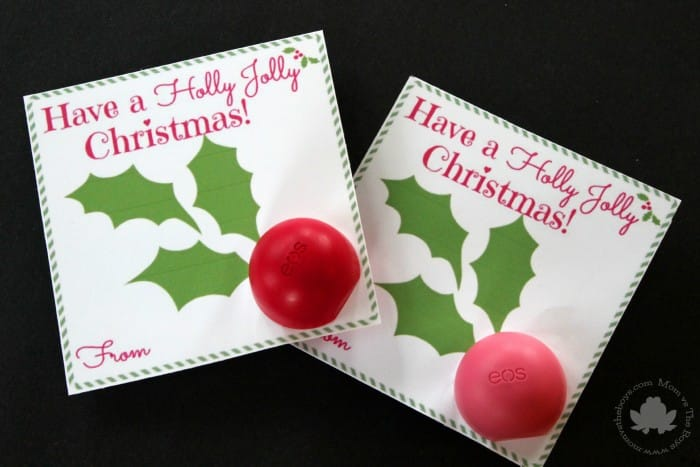 eos lip balm holiday card with free printable - mom vs the boys
