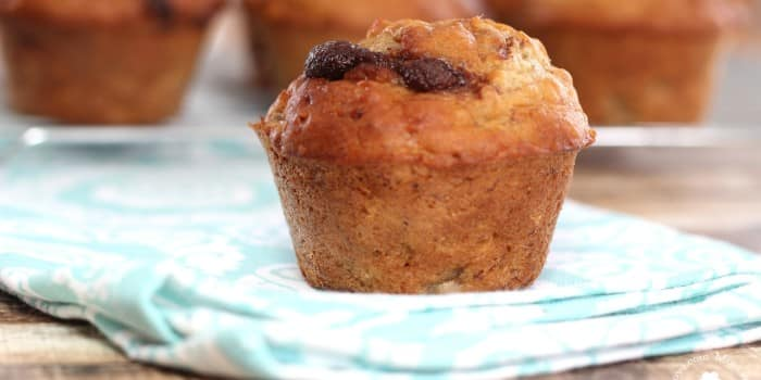 Reese's Monkey Muffins – Banana Muffins with a Chocolate Peanut Butter Swirl