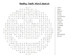 Oral Health Month and a Word Search Printable