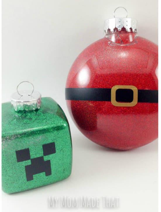 Glitter Minecraft Ornaments
