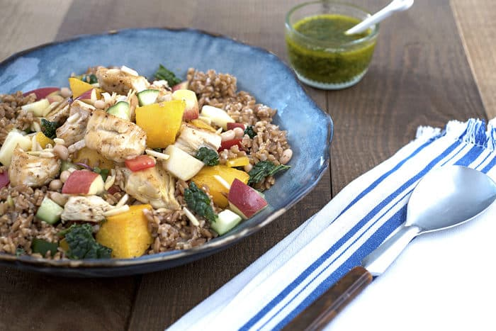 Turkey, Apple and Kale Grain Salad with Parsley Pesto Dressing
