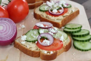 Open Faced Mediterranean Hummus Toast