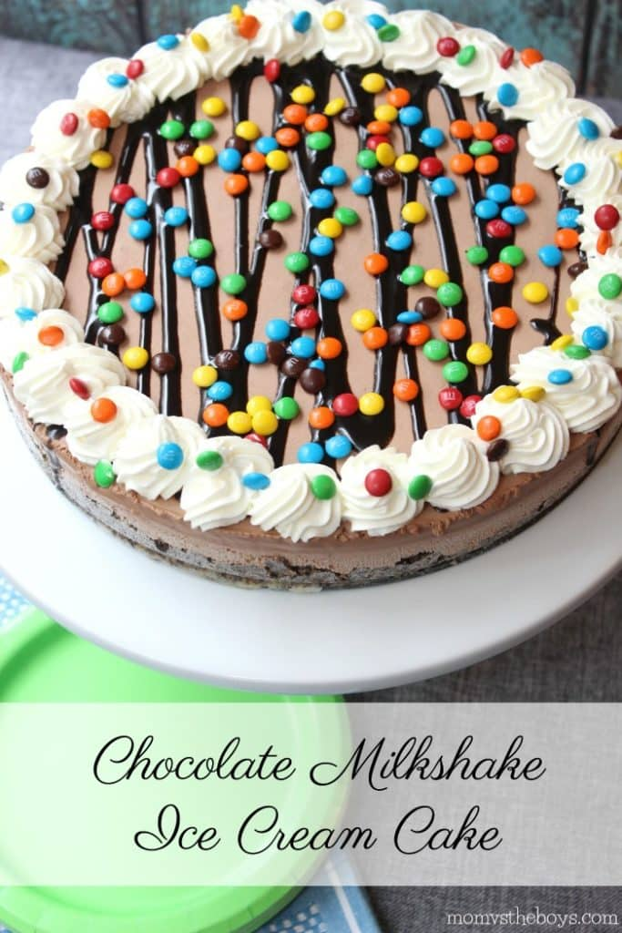 Chocolate Milkshake Ice Cream Cake - Mom vs the Boys