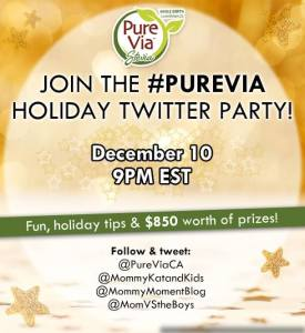 Join the @PureViaCA #PureVia Holiday Twitter Party December 10, 9pm EST