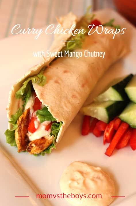 curry chicken wraps with sweet mango chutney sauce