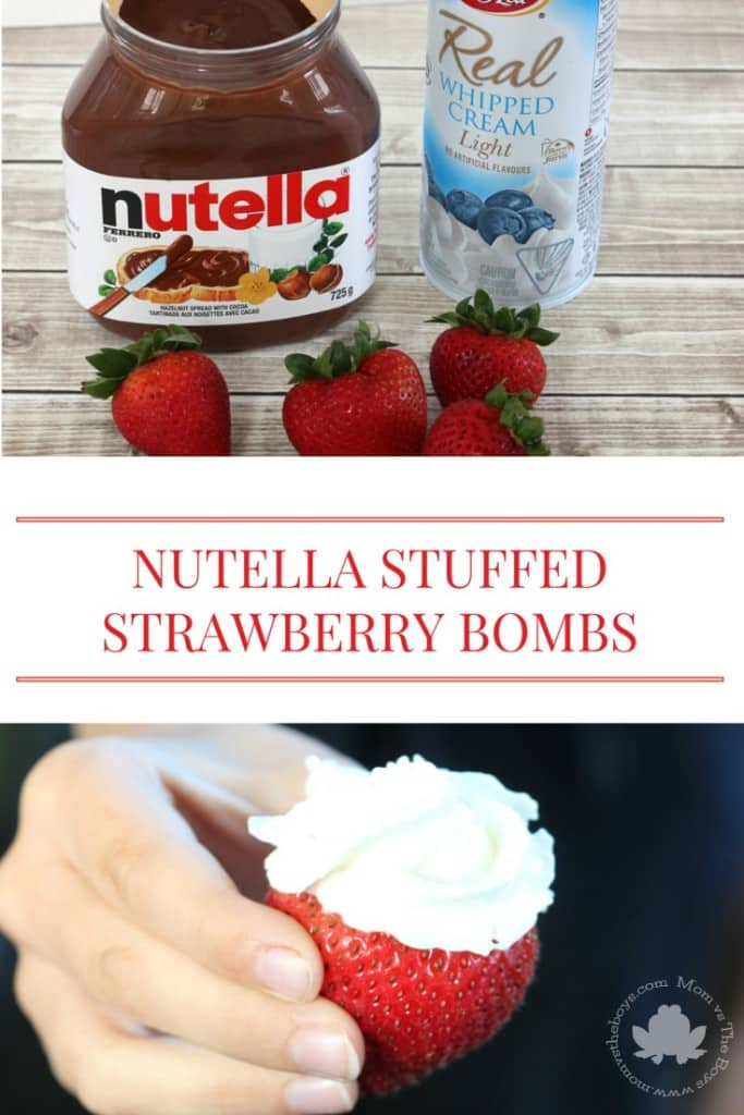 Nutella Stuffed Strawberry Bombs - Mom vs the Boys