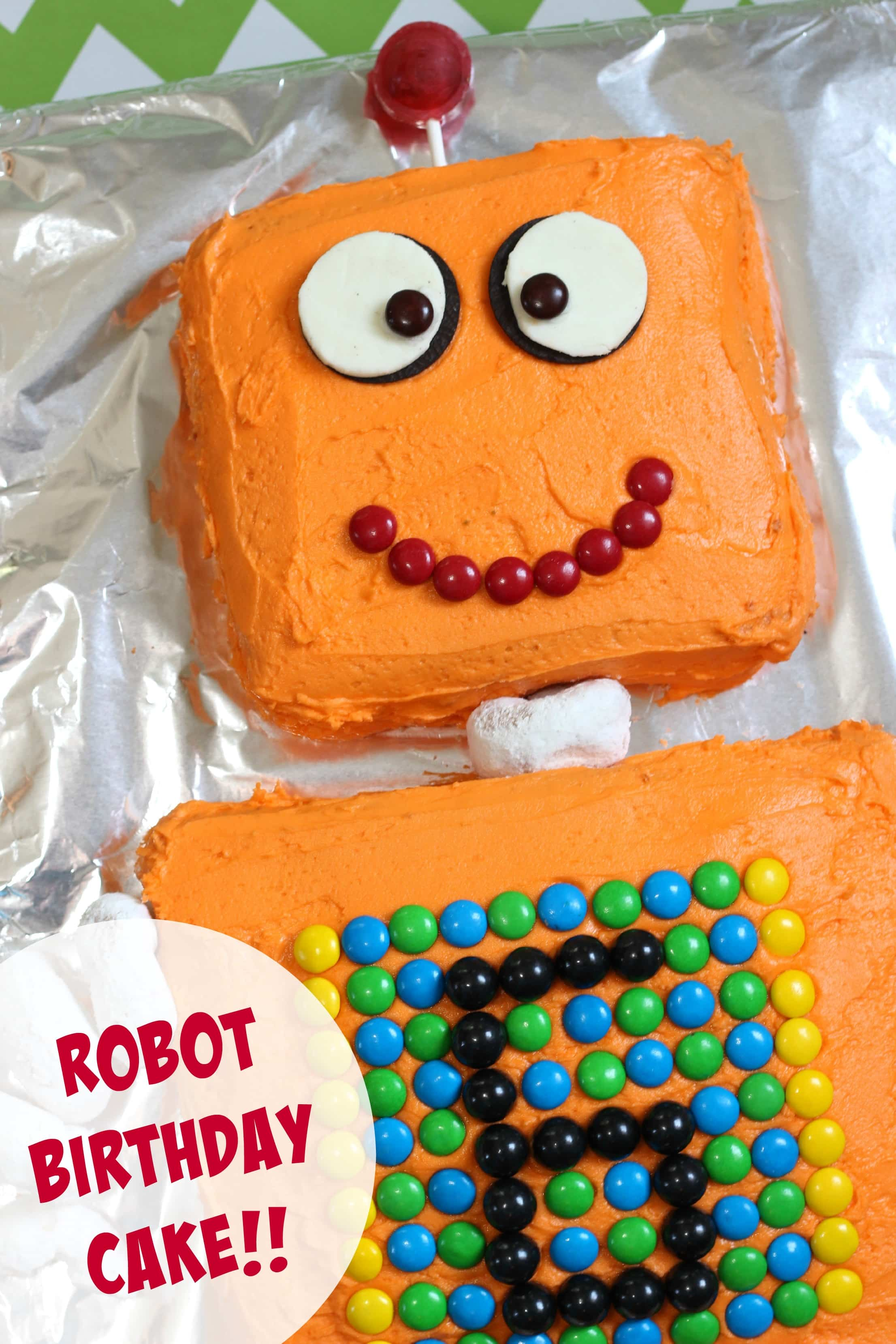 Admirable Robot Cake For A Robot Themed Birthday Party Mom Vs The Boys Personalised Birthday Cards Epsylily Jamesorg