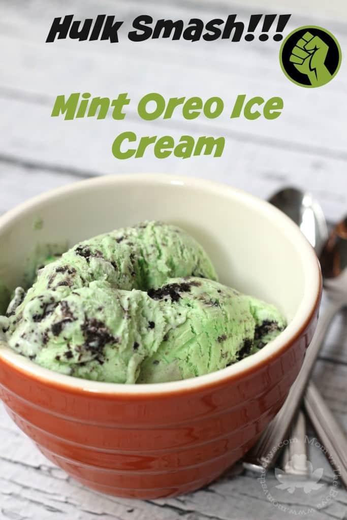 Mint Oreo 'Hulk Smash' Ice Cream - Mom vs the Boys