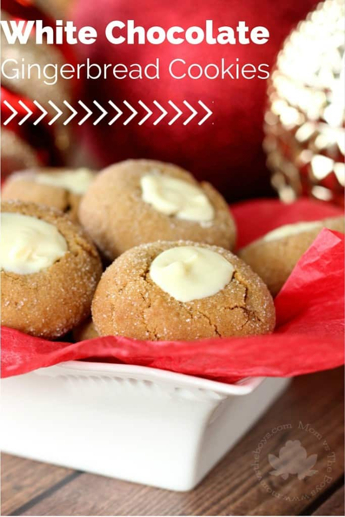 White Chocolate Gingerbread Thumbprint Cookies