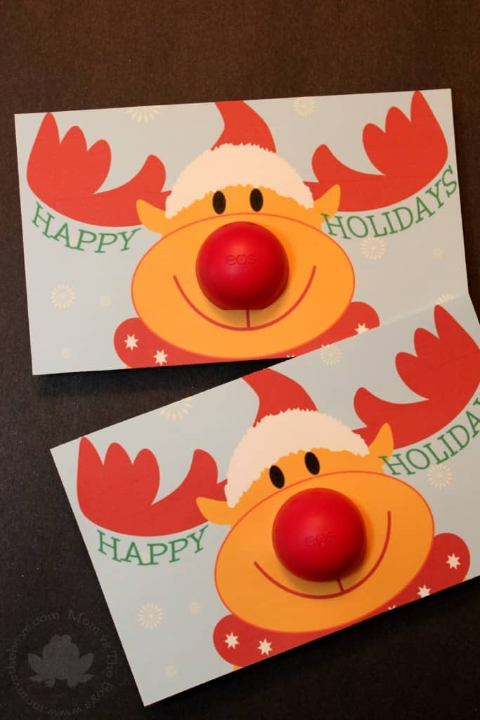 adorable eos rudolph card with free printable   Mom vs the Boys. EOS Lip Balm Rudolph Gift Printable and a chance to win an HP ENVY