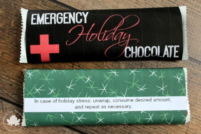 emergency holiday chocolate bar printable