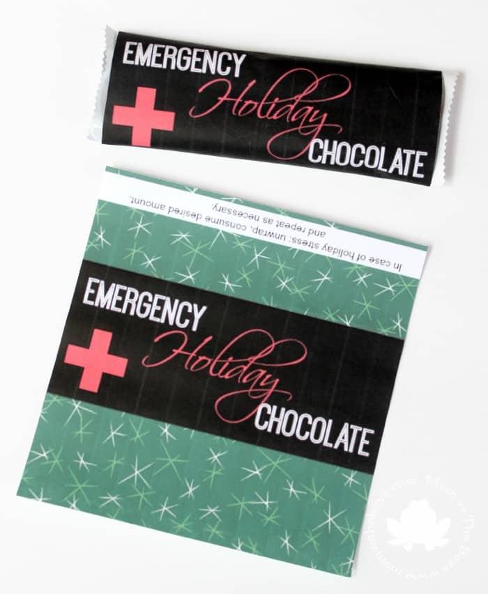 emergency holiday chocolate bar printable - Mom vs the Boys