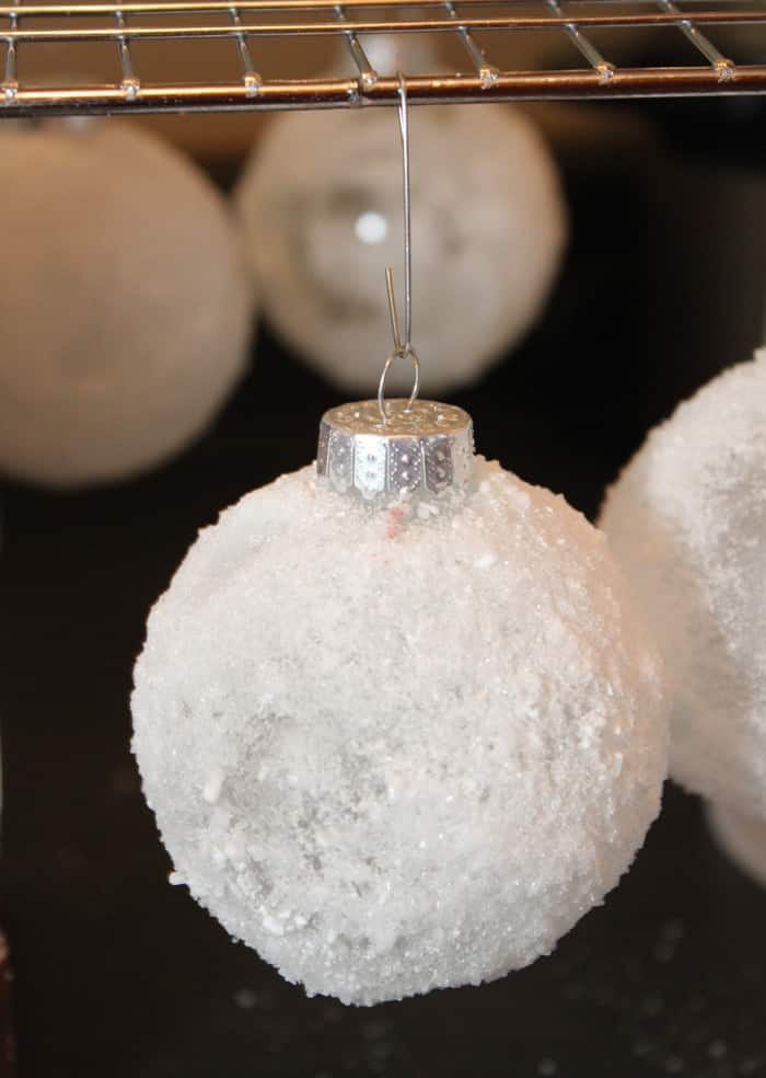 snowball ornament drying