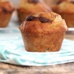 Reese's Monkey Muffins - Banana muffins with a chocolate peanut butter swirl