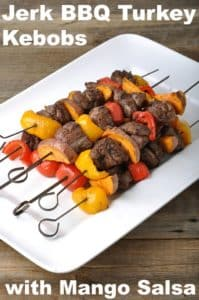 Jerk BBQ Turkey Kebobs with Mango Salsa
