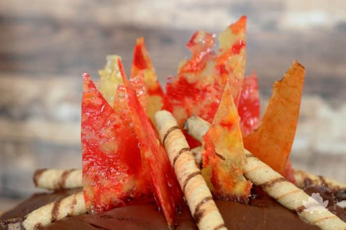 Campfire Cake - candy flames