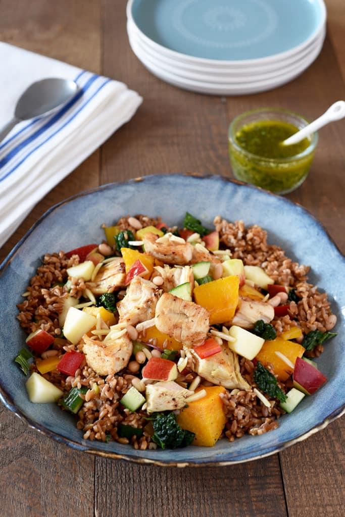 Turkey, Apple and Kale Grain Salad with Parsley Pesto Dressing