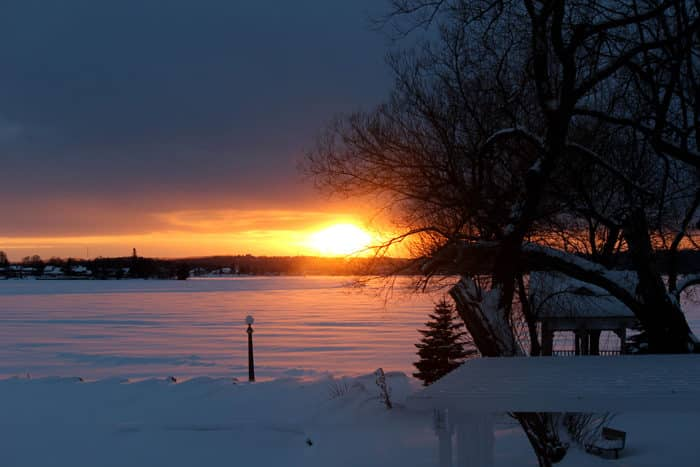 lake couchiching sunset