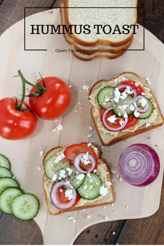 Open Faced Mediterranean Hummus Toast - Mom vs the Boys