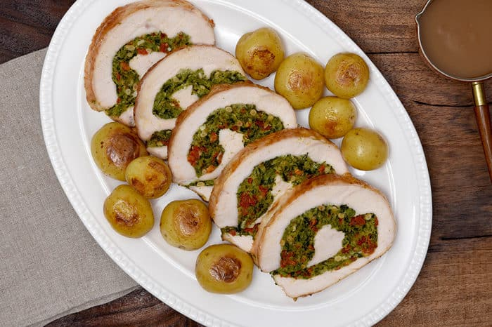 sundried tomato greens stuffed turkey breast roast