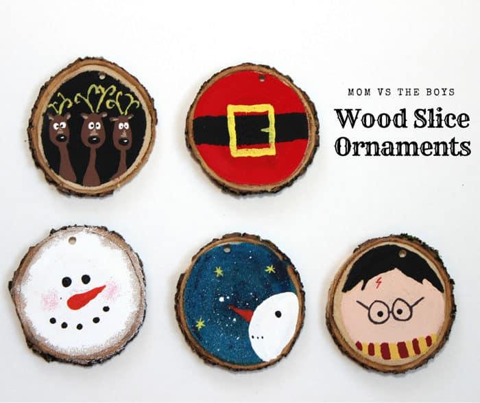 Wood Slice Ornaments - Mom vs the Boys