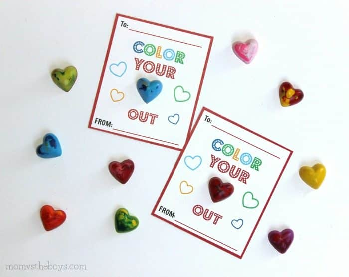 DIY heart shaped crayon valentines - color your heart out