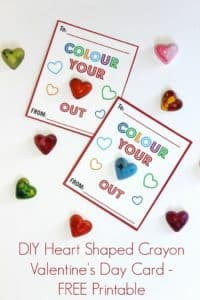 DIY Heart Shaped Crayon Valentines with Printable