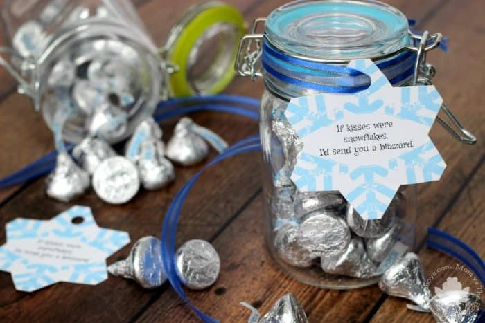 If kisses were snowflakes, Hershey Kisses Treat Jar with Printable