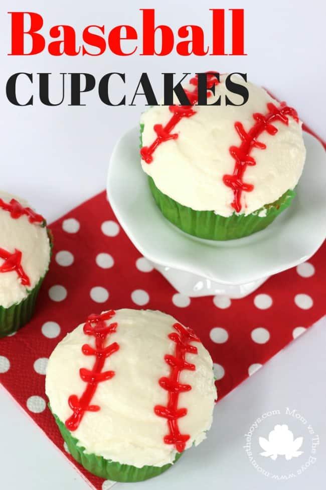 Baseball Cupcakes - Mom vs the Boys
