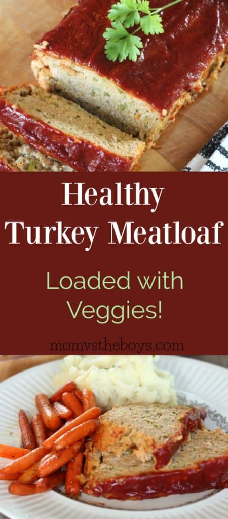 This Healthy Turkey Meatloaf is loaded with garden veggies and has a tomato glaze