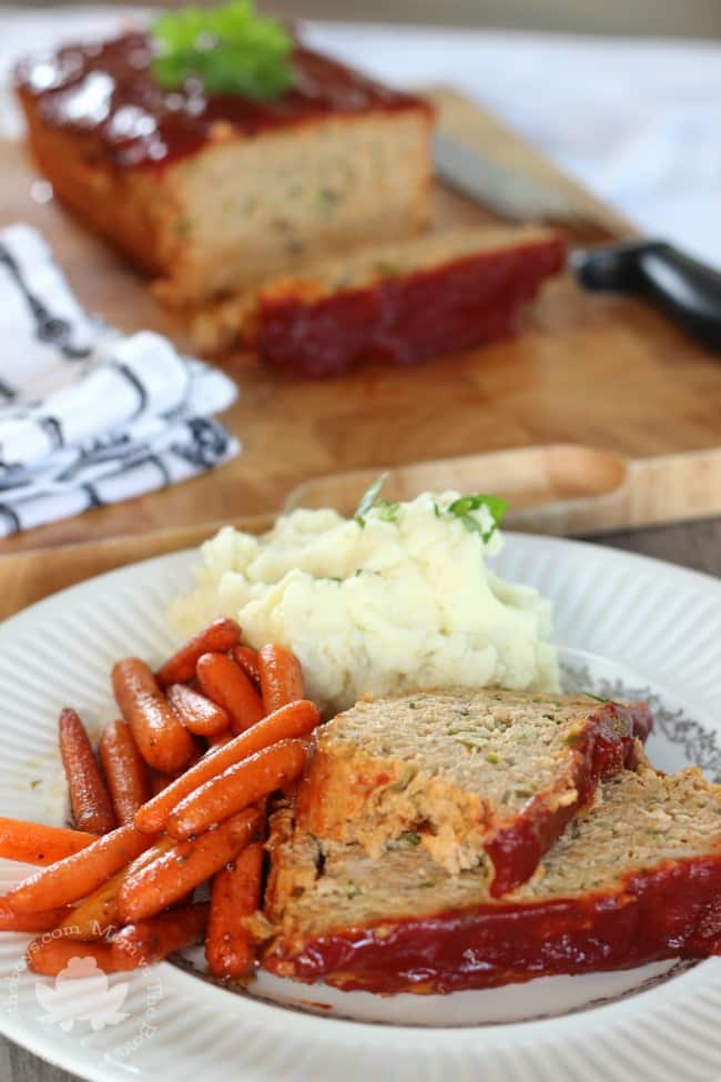 This Healthy Turkey Meatloaf is loaded with veggies!