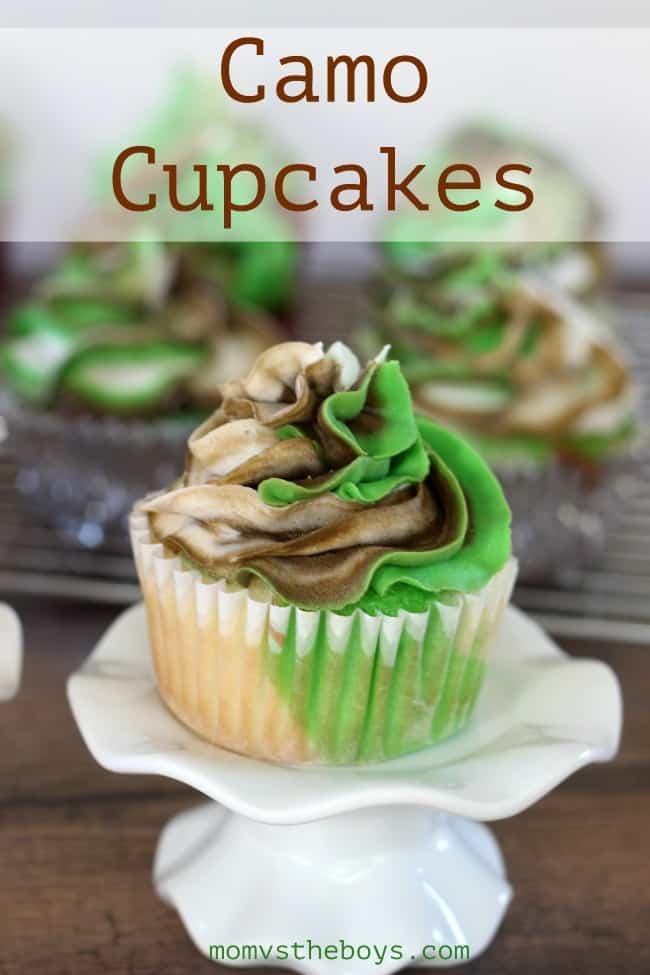 Easy Camo Cupcakes - Mom vs the Boys