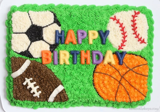 Surprising Easy Sports Cake For Birthday Celebrations Mom Vs The Boys Personalised Birthday Cards Veneteletsinfo