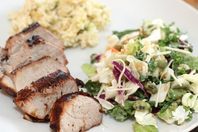 marinated pork tenderloin plated