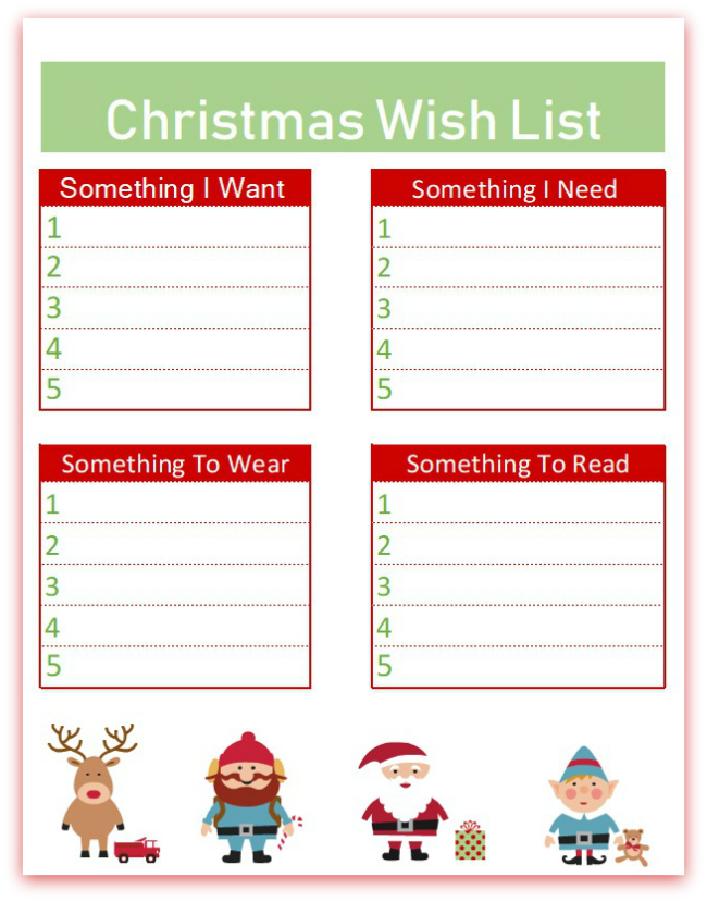 image about Printable Wish Lists identify Xmas Want Record Printables - 3 Designs - Mother vs the Boys