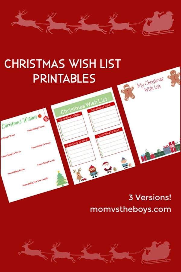 Christmas Wish List Ideas.Christmas Wish List Printables 3 Versions Mom Vs The Boys
